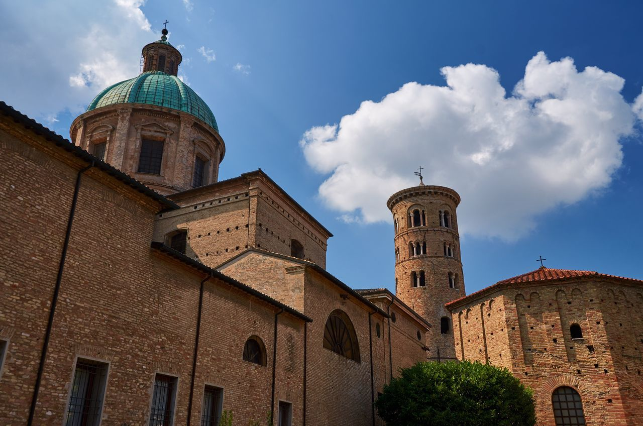 Ravenna Ravenna Italy Basilica Church Place Of Worship Religion Architecture Historic Historical Building Medieval Medieval Architecture Blue Sky Building Landmark No People Façade Cupola Chapel Built Structure Tower Low Angle View Dome Spirituality Outdoors Day