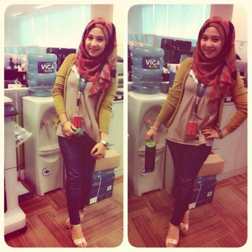 "At my office ... Ootd friday ""latepost  Enjoying Life Fashion Hijab"