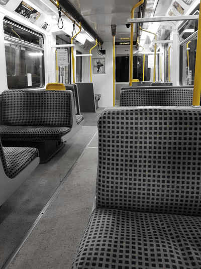 Where'd everyone go?Train - Vehicle Public Transportation Subway Train Transportation Rail Transportation Mode Of Transport No People Indoors  Vehicle Seat Day Tyne And Wear Metro Tyne And Wear Metro Jesmond