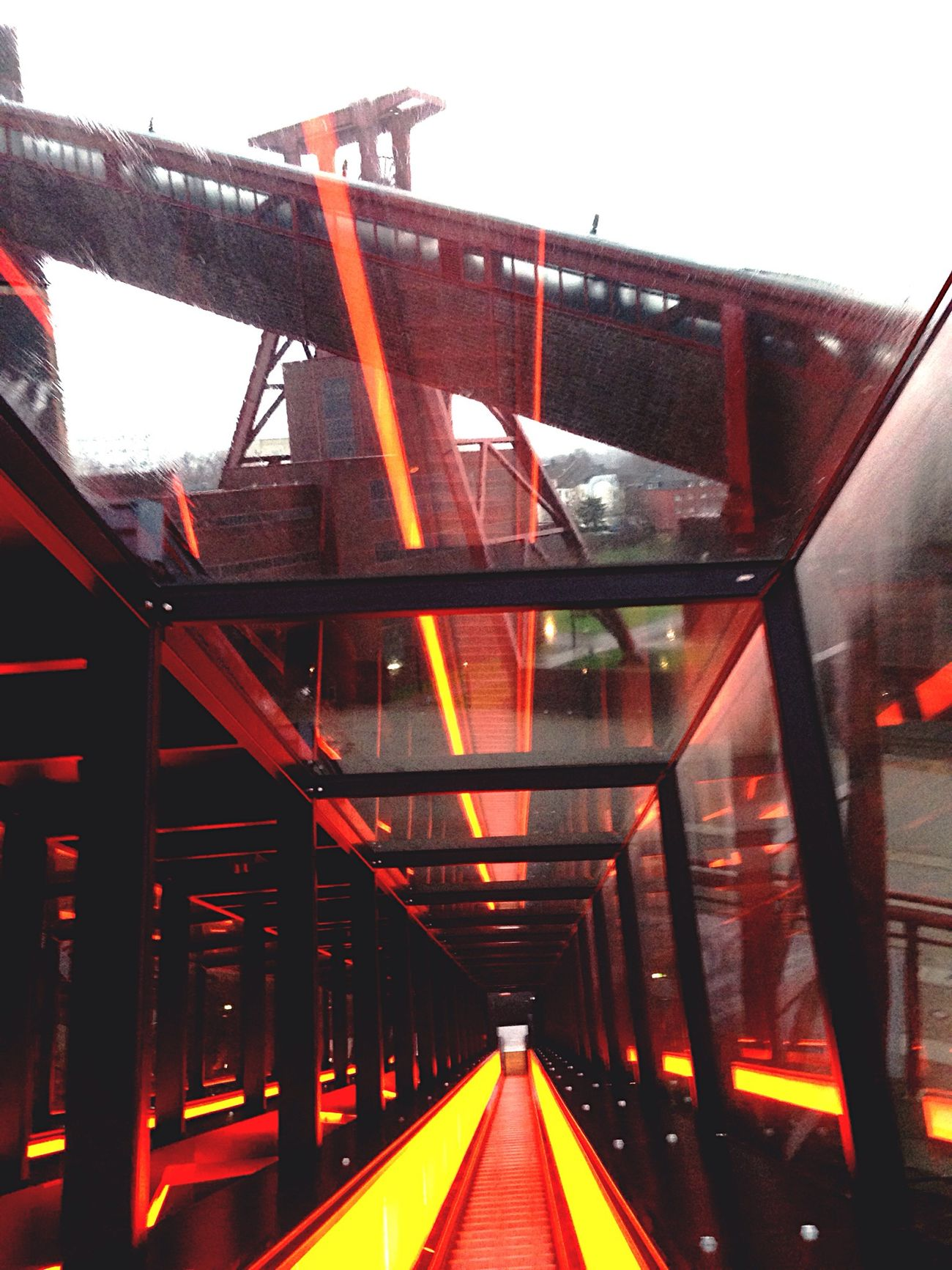 Exhibition Stairway Rolltreppe Zeche Zollverein Light Effects Orange Industrial Vanishing Point