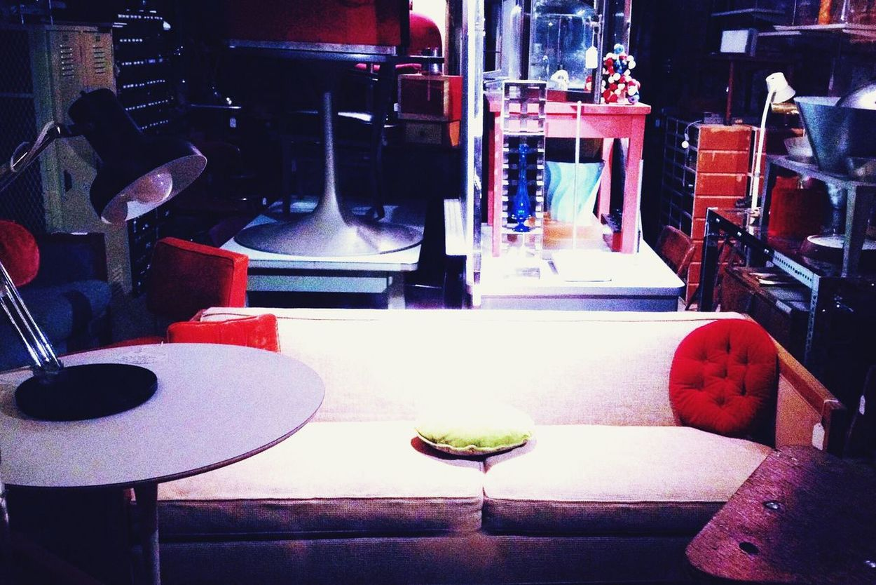 Space Oddity—Seattle Storefront Display Seattle Mid Century Modern Retro Furnitures Lamps Pillows Red Pink Chair Table Absence Empty Indoors  Group Of Objects Bar Counter Place Setting No People Domestic Life Arranged