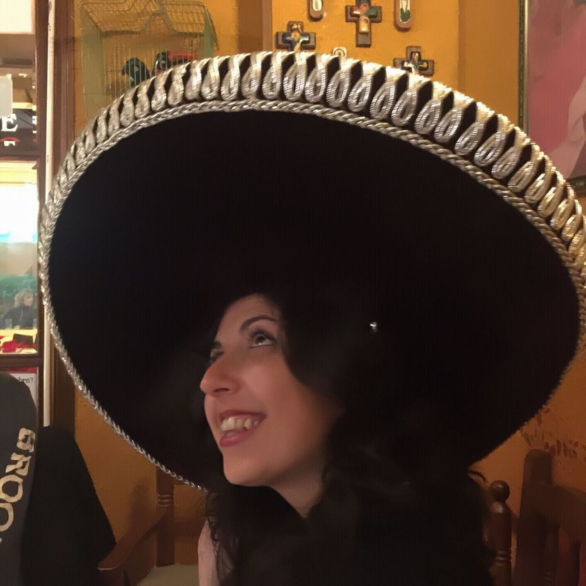 Young Adult Adults Only Beautiful Woman Headshot One Person Beautiful People Beauty Only Women One Woman Only Adult One Young Woman Only Young Women Lifestyles Portrait People Smiling Indoors  Tex-Mex Restaurant Tex-Mex Sombrero Mexicano Headwear
