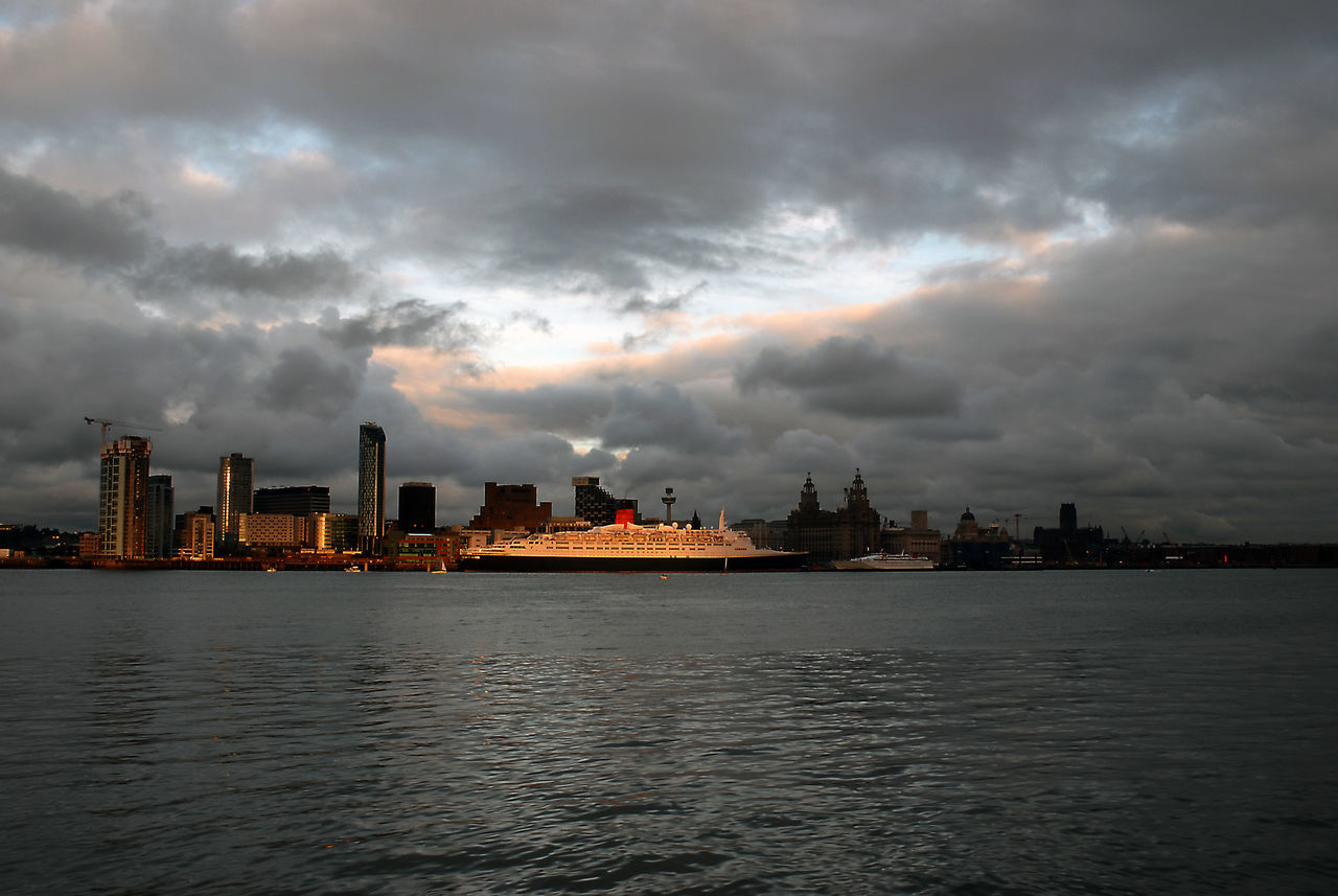 Queen Elizabeth 2 at Liverpool on her 40th anniversary cruise. Cruise Ship Cunard Liver Building Liverpool Mersey Merseyside Port QE2 Ship Ships At Sea Travel Travel Destinations Travel Photography Traveling The City Light