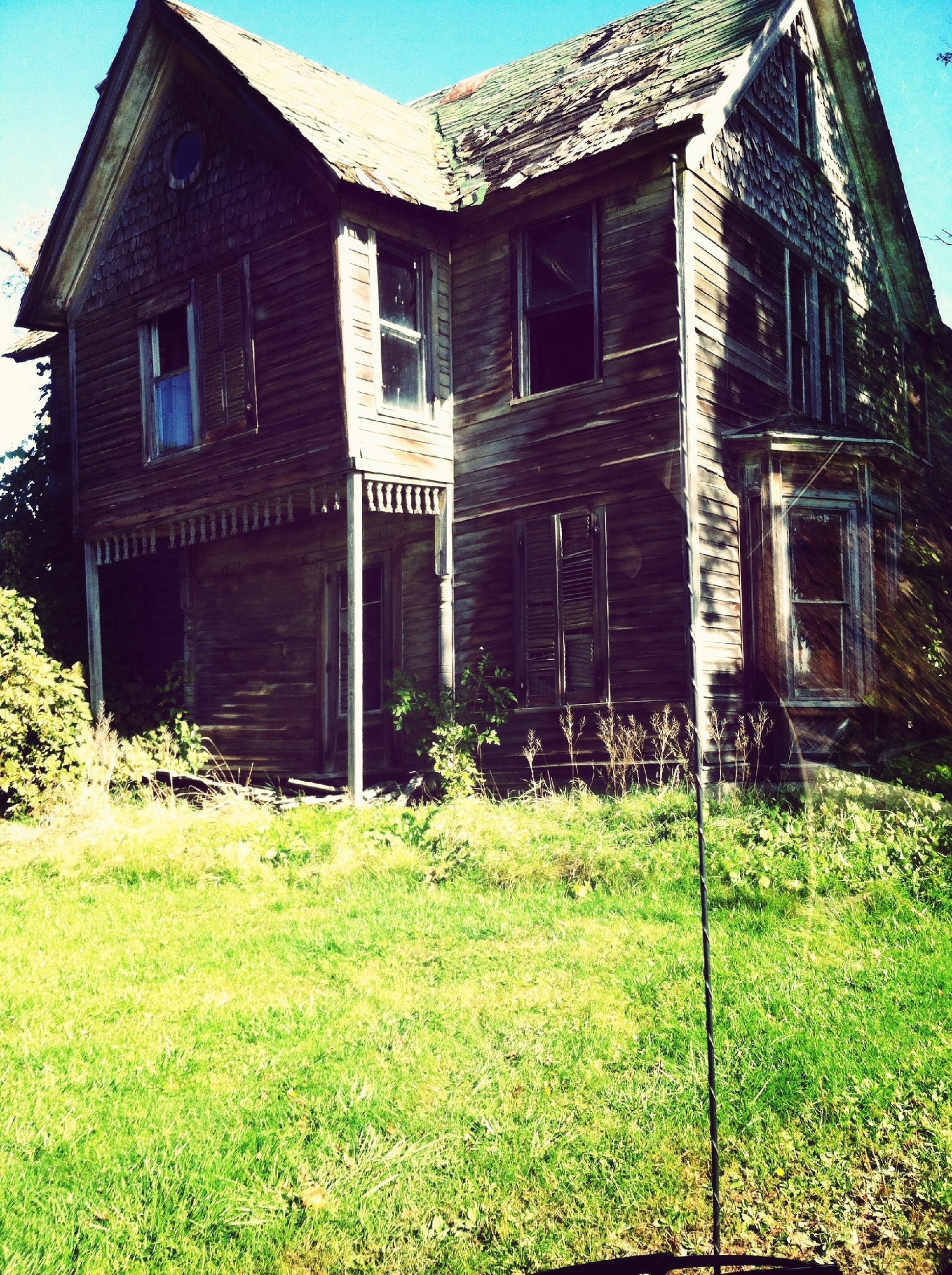 building exterior, architecture, built structure, grass, house, abandoned, window, plant, grassy, old, field, residential structure, green color, sky, damaged, day, clear sky, obsolete, sunlight, growth