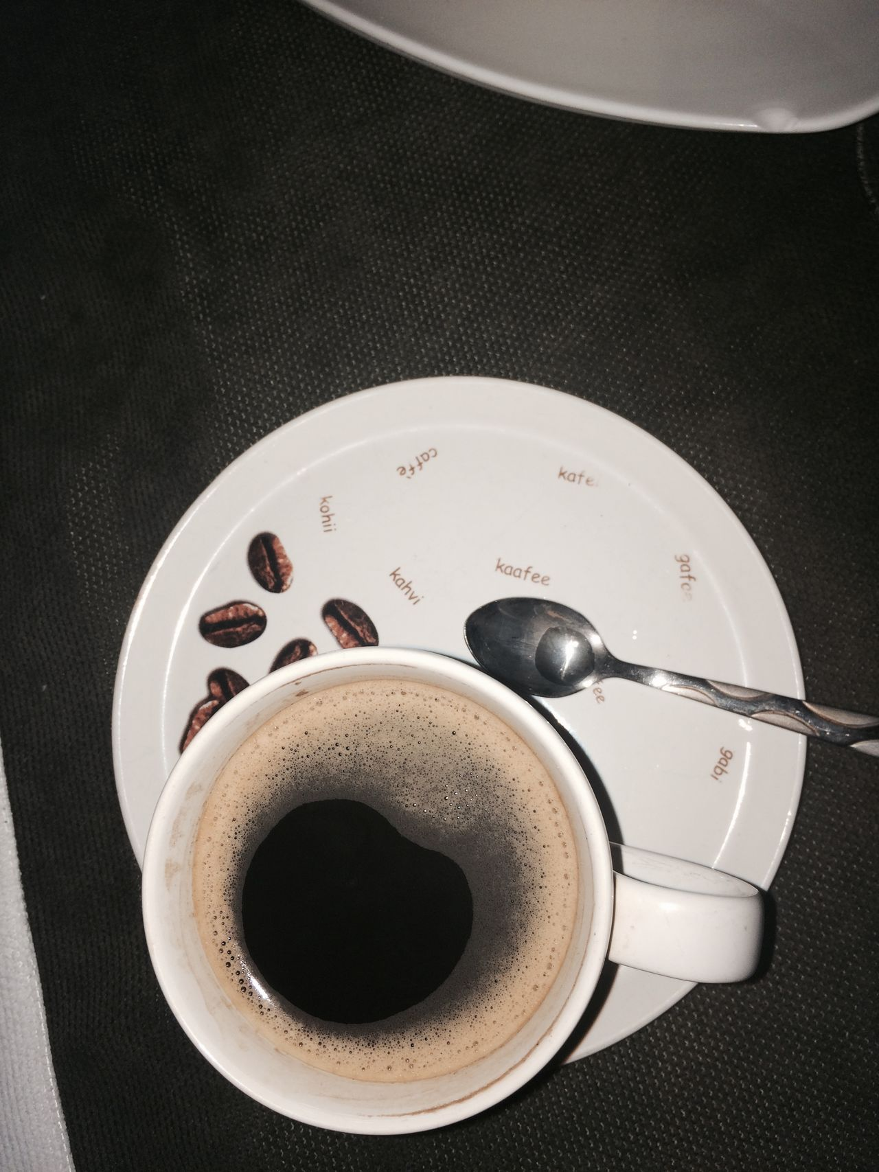 Circle Close-up Coffee Coffee - Drink Coffee Cup Coffie Coffie Beans Coffiecup Coffiee Time Cup Directly Above Drink EyeEm Gallery High Angle View Indoors  Metal Metallic No People Refreshment Saucer Sink Spoon Still Life Table Technology