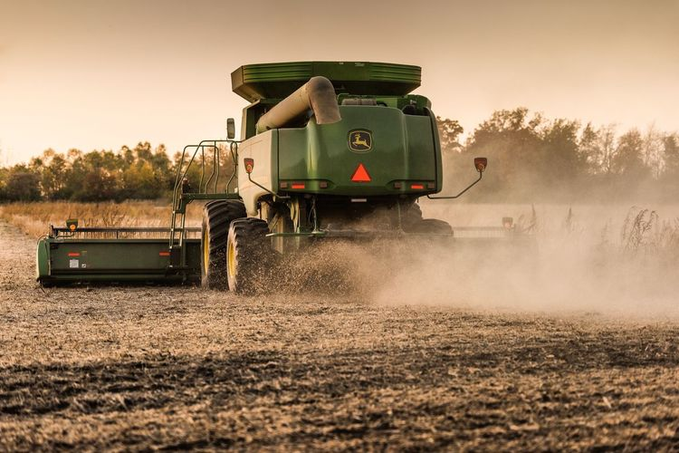 Fall Harvest John Deere Agricultural Machinery Rural Scene Combine Harvester Field