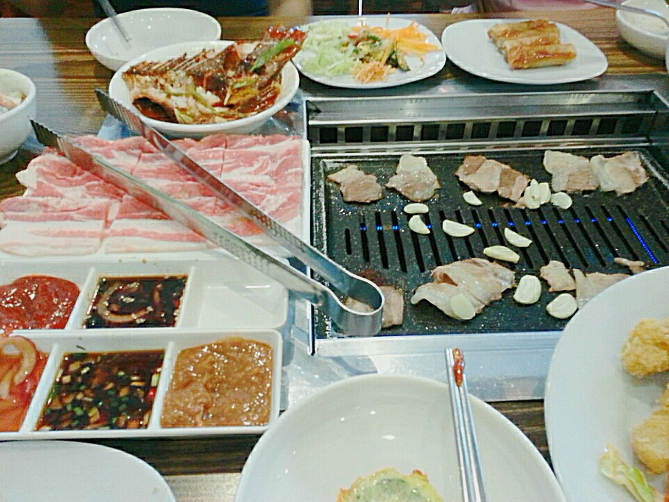 Korean Food Buffet Samgyeopsal  Samgyupsal Grilling Kimchi