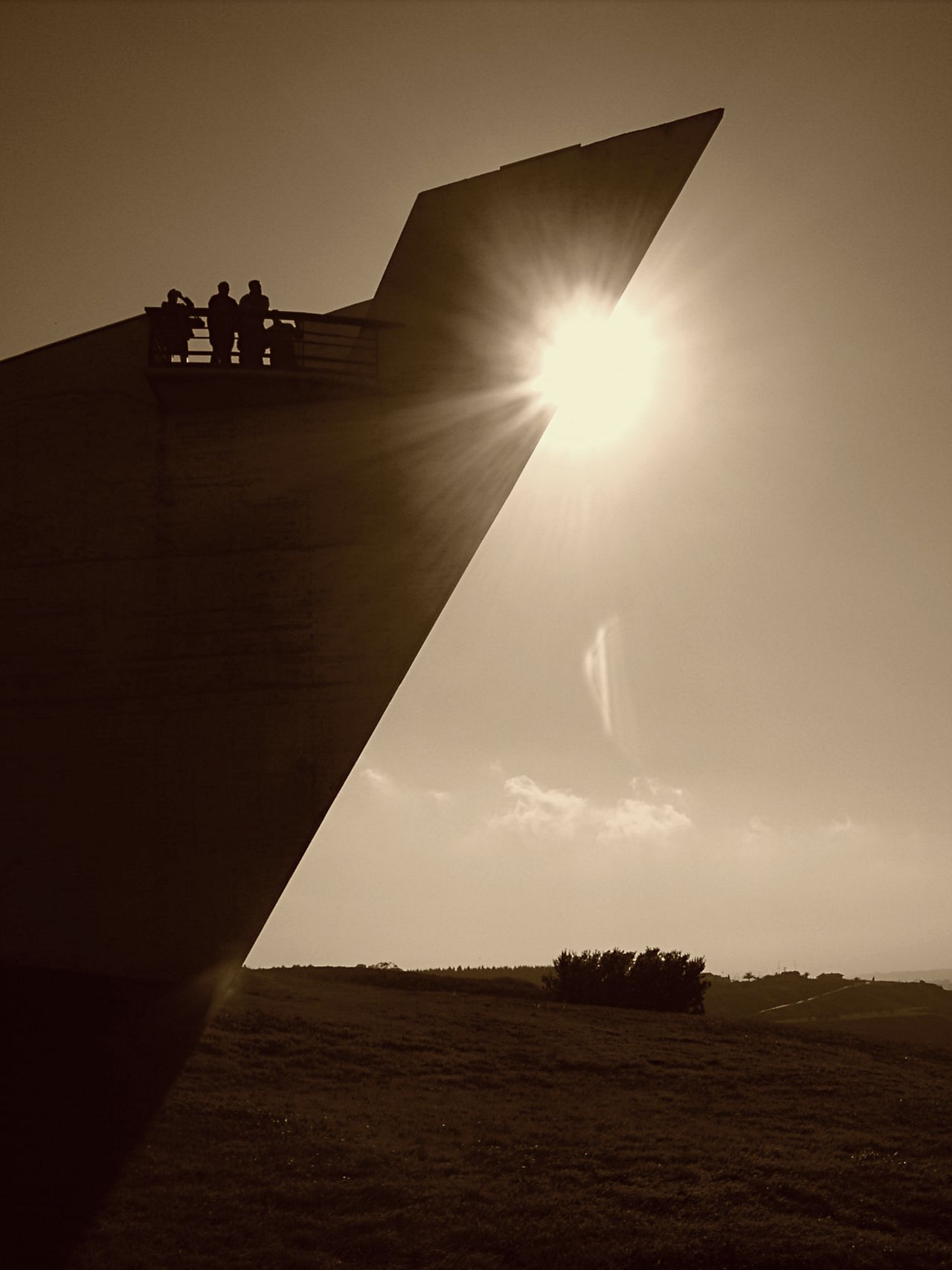Beauty In Nature Day Lens Flare Monument Nature Outdoors Sepia Sky Sun Sunbeam Sunlight Sunset