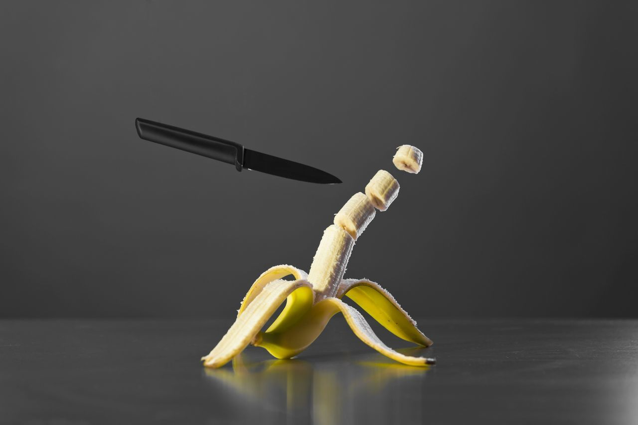 Banana Cutting Fight Fruit Knife My Favorite Breakfast Moment No People Still Life Yellow Market Reviewers' Top Picks