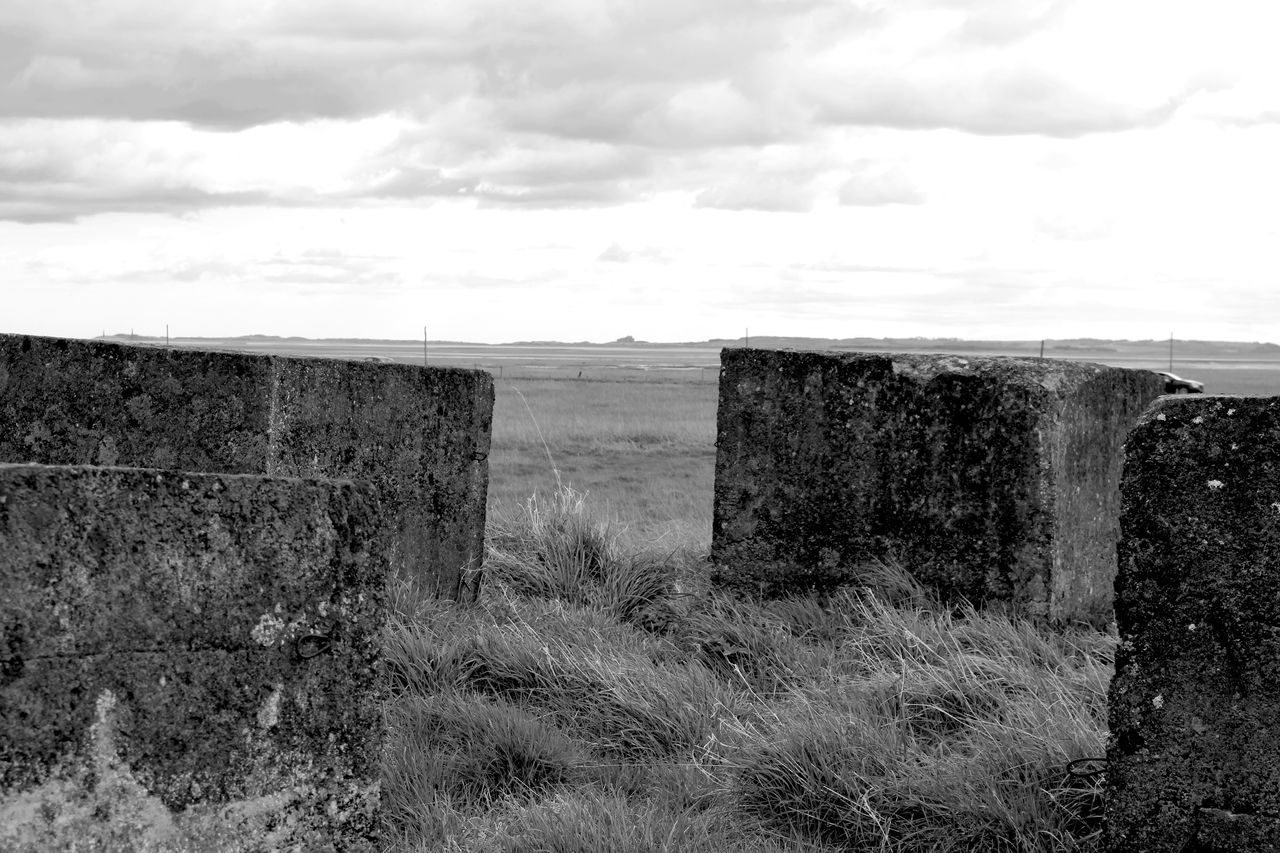 Old defences Cloud - Sky Sky Day No People Field Outdoors Landscape Architecture Nature Grass Beauty In Nature Blackandwhite Photography Blackandwhite Defences Coast Coastline Holy Island