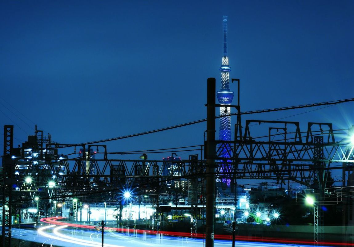 Night Illuminated Tower Landscape Tokyo Japan Nightscape Nightview Nightphotography Nightpicture Tokyoskytree Skytree Train Lighttrail