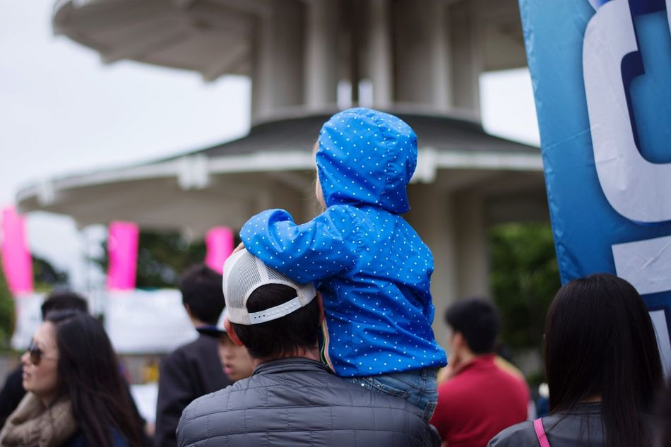 People Watching Walking Around Kidsphotography Japantown Showcase April Enjoying The Moment Capture The Moment Street Photography Streetphotography Cherry Blossom Festival Taking Pictures Taking Photos View From Above View From The Top Babygirl Bokeh Father And Daughter Family Time