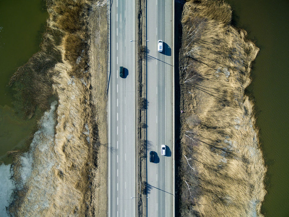 Aerial View Day Domestic Animals Drone  Finland Helsinki Highway Landscape Nature No People Outdoors Road Sky Top Perspective Top View Tree