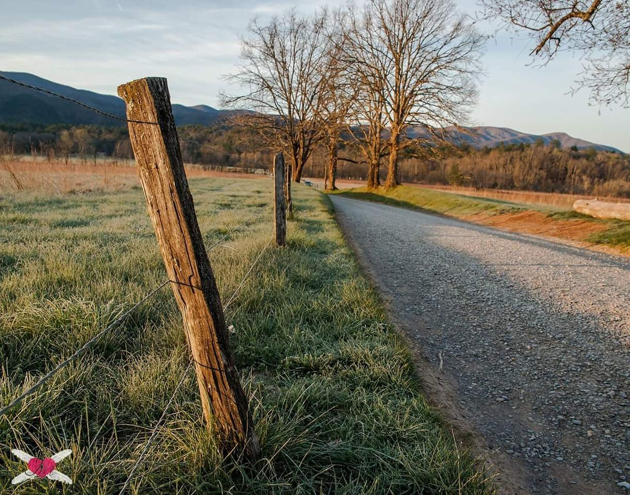 Empty Road By Fence On Grassy Field