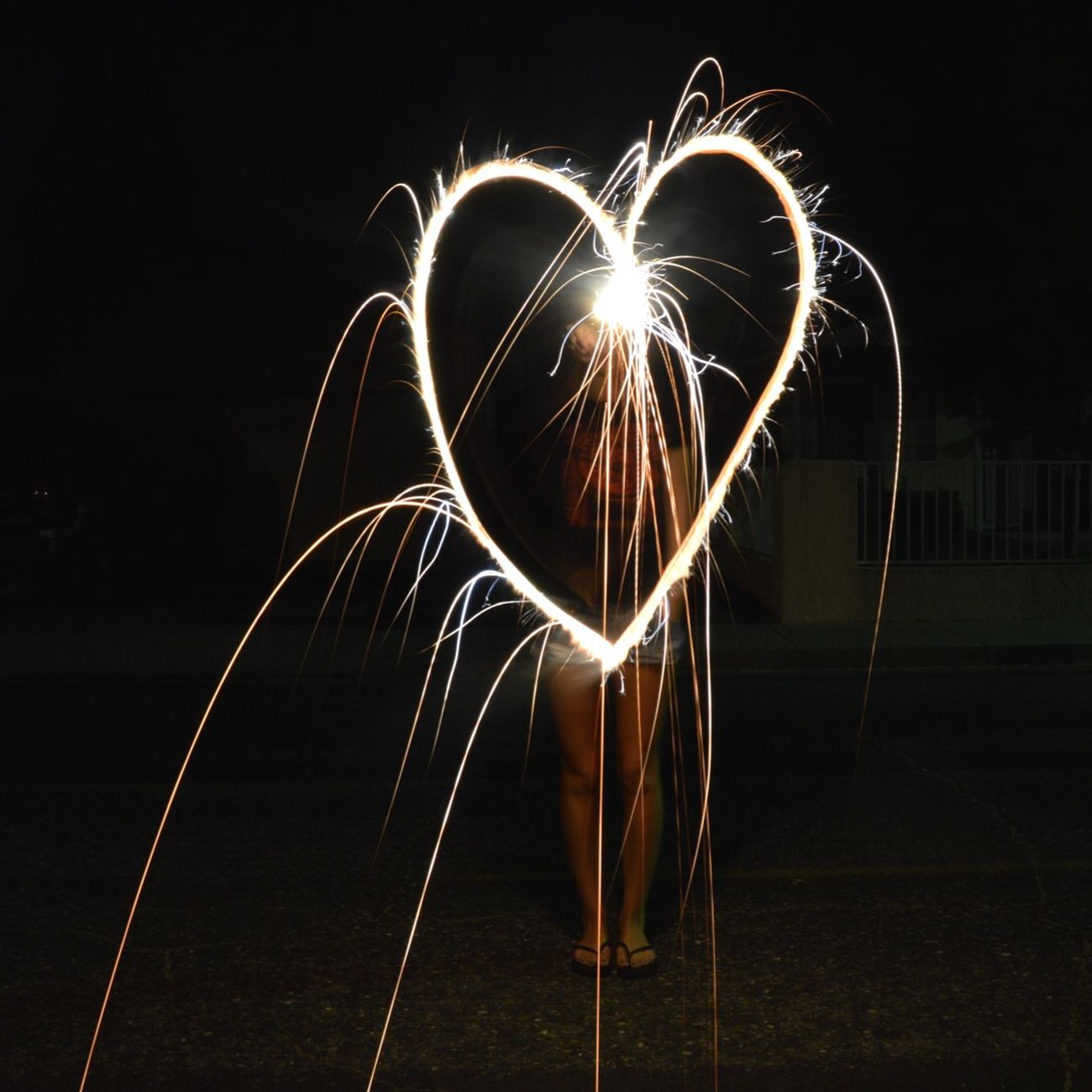 Sparklers Light Painting Fireworks Heart Fun Times Light Hearted