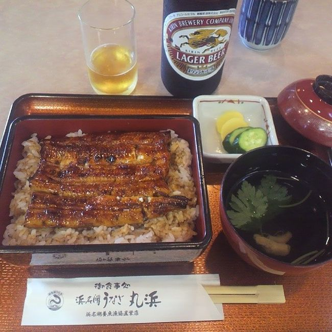 浜松で寄り道w 「浜名湖うなぎ丸浜」でうな重(梅)2200円 浮かれながらのウナギにビール! 最高にウマイよ~~