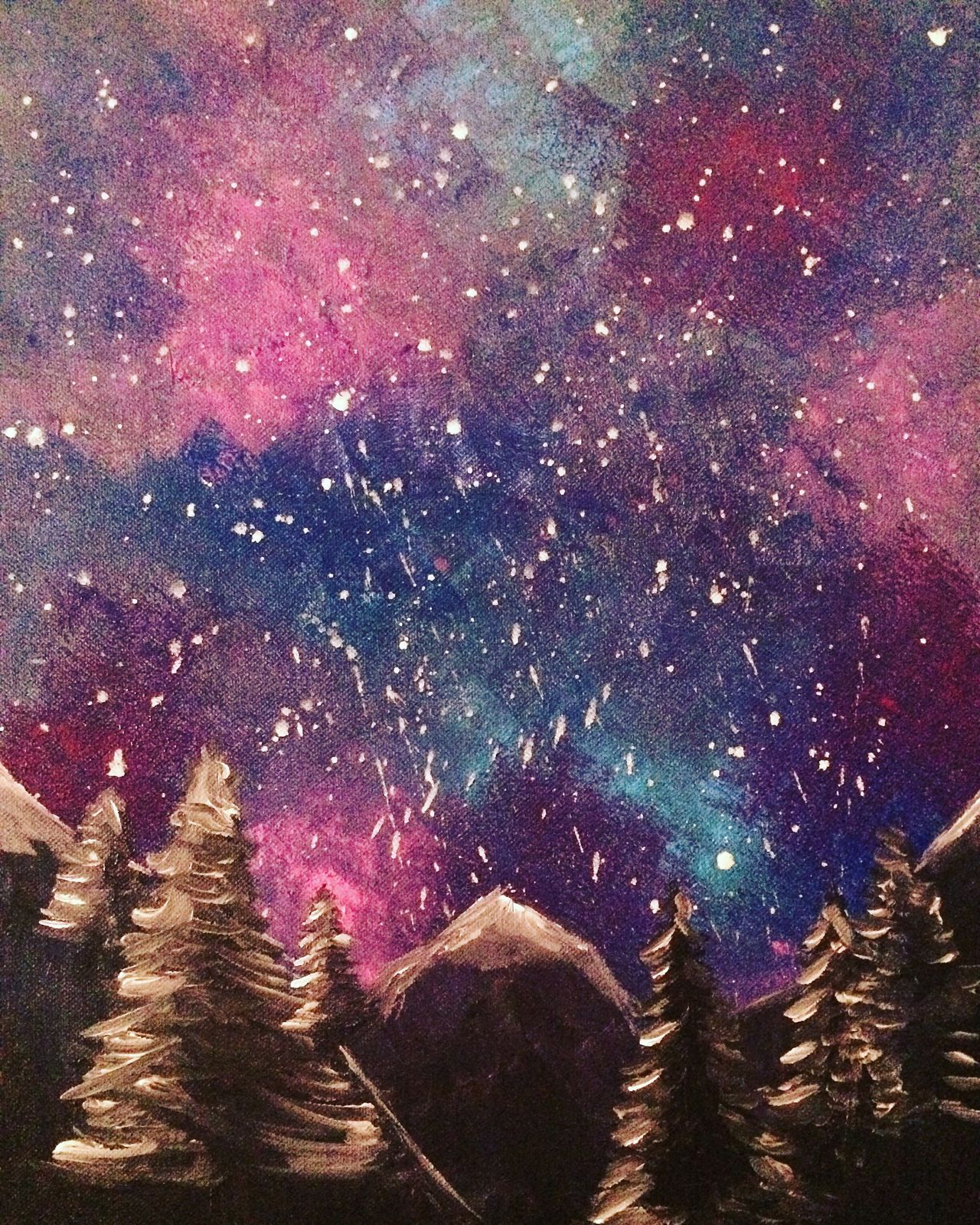 Night Galaxy Sky Outdoors Milky Way Constellation Beauty In Nature Mountains Painting Acrylic Painting