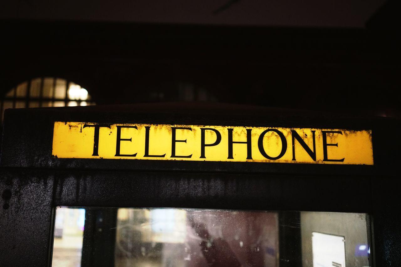 Illuminated Text Night Communication Yellow No People City Close-up London Telephone Telephone Booth Phone Phone Booth Nightphotography Uk England
