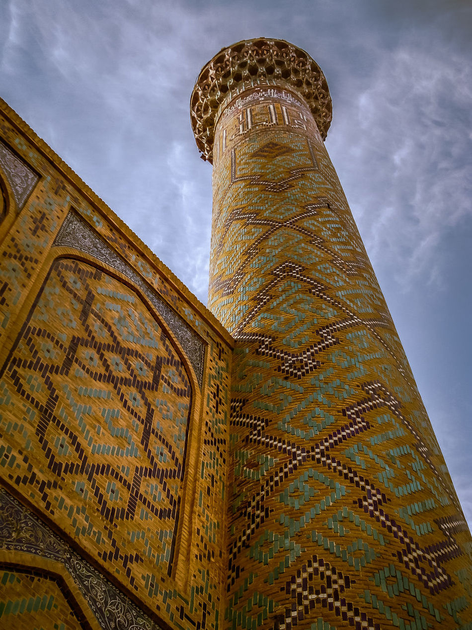 Minaret Architecture Built Structure Calligraphy Cloud - Sky Clouds And Sky Day History Islamic Islamic Architecture Islamic Art Islamicarchitecture Low Angle View Minaret Miniature No People Outdoors Registan Sky Sky And Clouds Skyporn Text Travel Travel Destinations Uzbekistan Voyage