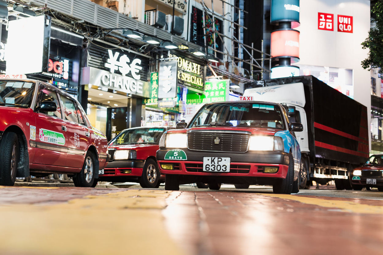 Taxi in Central Hong Kong . Ant View Destination HongKong Night Street Taxi Transportation Under