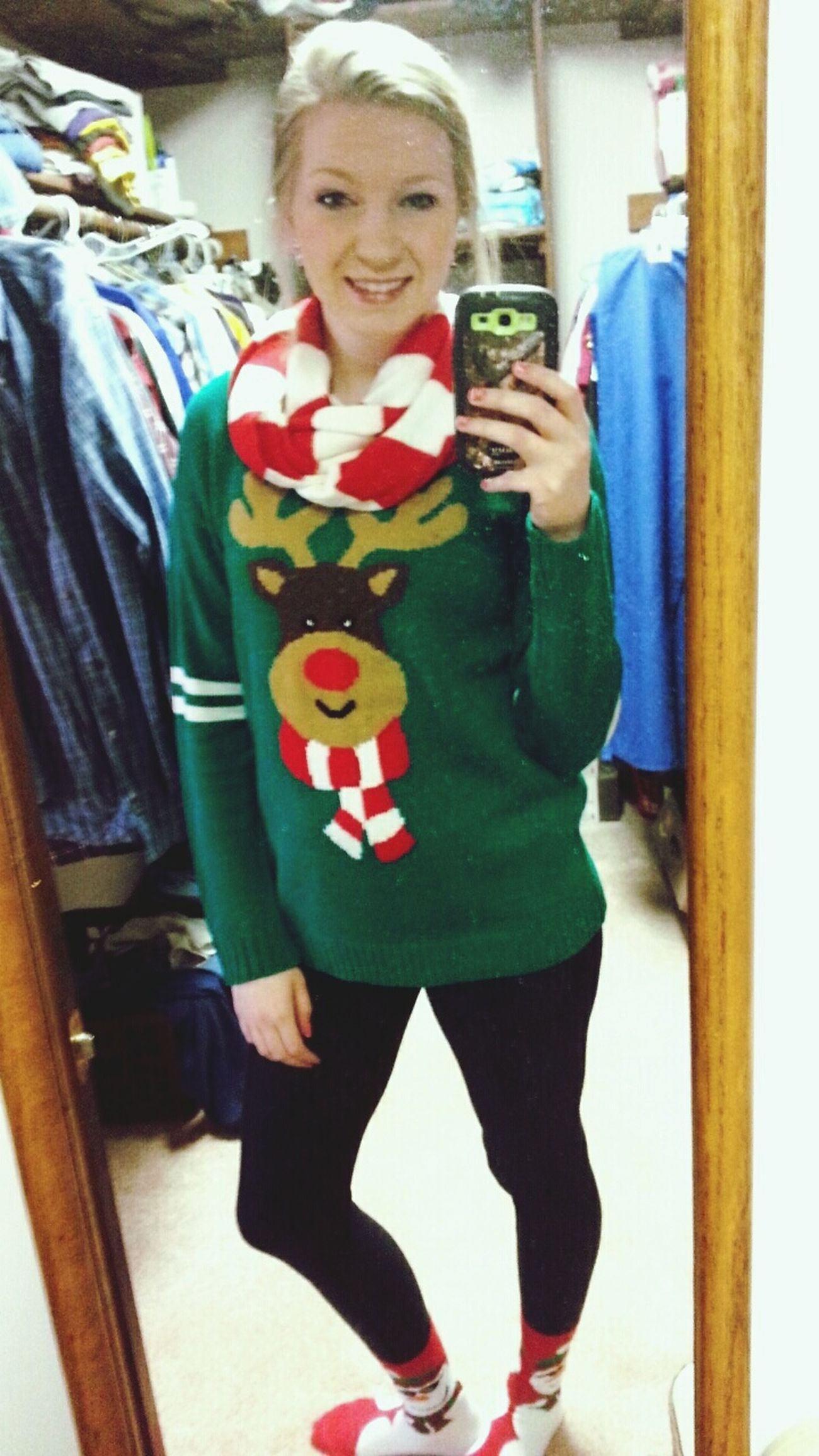 Feelingfestive with my Rudolph Uglysweater , Snowmansocks and Santaearrings🎅 ??