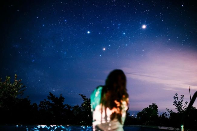 Night Star - Space Sky Astronomy Milky Way Rear View Galaxy Beauty In Nature Constellation Space Nature People Star Field Scenics One Person Young Adult Moon Outdoors Adult Adults Only