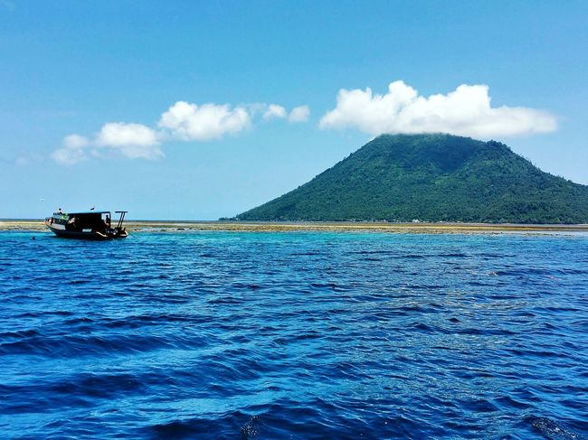 Outdoors Sea Nature Tranquility Cloud - Sky Sky Water Blue Day Nautical Vessel Mountain Island In The Sun