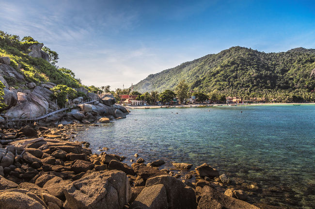 Hard to believe that the Full Moon Party is held here, especially during the quiet season. ASIA Beach Beauty In Nature Blue Full Moon Party Haadrin HaadRinBeach Hills Holiday Idyllic Koh Phangan Landscape Rocks Scenics Selfie Sky Thailand Tranquil Scene Tranquility Travel Vacation Water