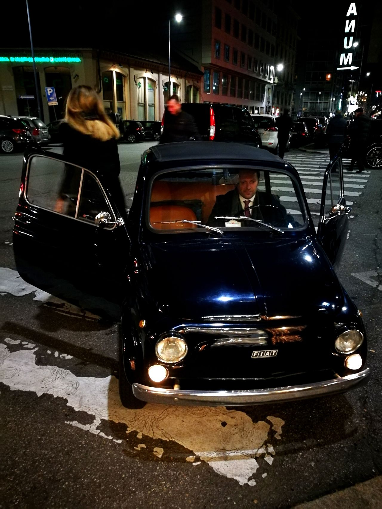 Exploring Style My Year My View Car Transportation Night Land Vehicle Outdoors Light And Shadow Small Car City Car Two Persons Dark Blue Old Style Vintage Cars