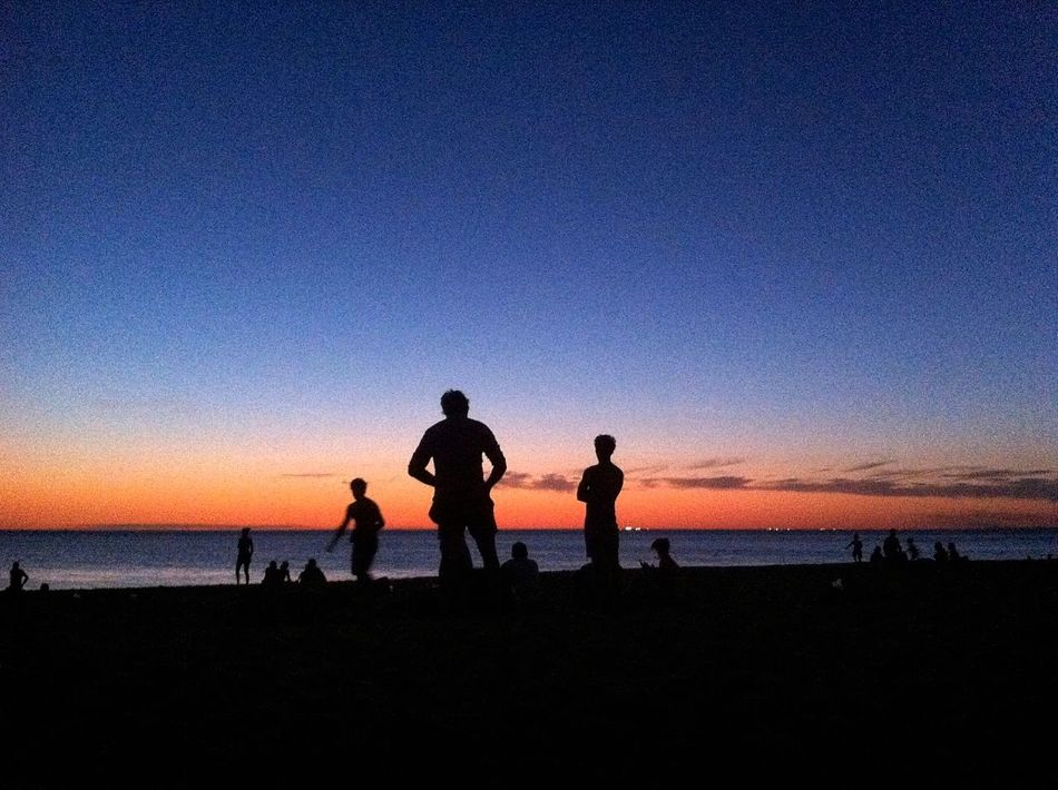 Beautiful stock photos of silhouette, Beach, Calm, Copy Space, Group Of People