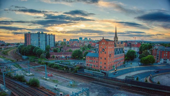 Salford Sunday Sunset Architecture Built Structure City High Angle View Sunset Cloud - Sky Cityscape Cloud Sky Rail Transportation Transportation Red Brick Manchester Salford Blue Sky CityArchitecture Railroad Track Architecture Built Structure Building Exterior City High Angle View Sunset Residential Building