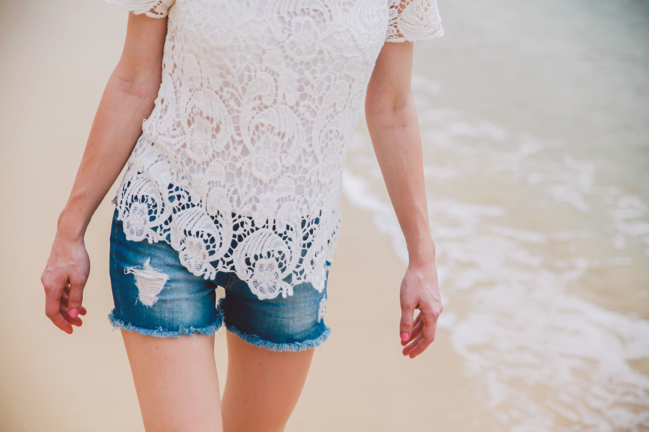 Beautiful stock photos of woman, Beach, Casual Clothing, Day, Focus On Foreground