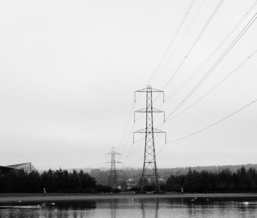 Cable Connection Water Electricity  Power Supply Fuel And Power Generation Electricity Pylon Power Line  Outdoors Sky Clear Sky Nature No People Electricity Tower Day Scenics Beauty In Nature Falkirk Helix Park Monochrome Photography Monochrome Blackandwhite Black And White Bnw
