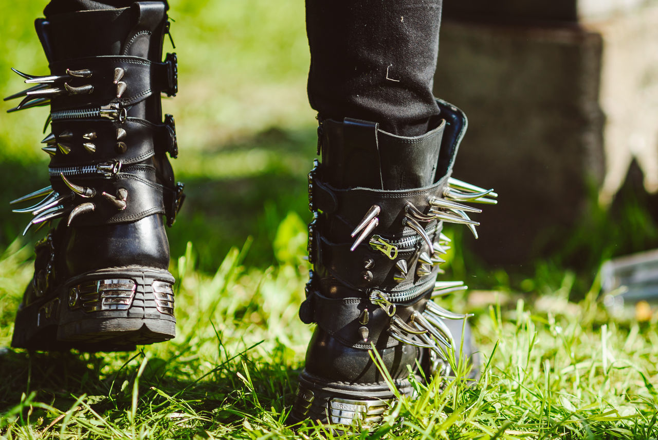 Shoes Army Close-up Day Field Focus On Foreground Goth Grass Human Leg Low Section One Person Outdoors People Real People
