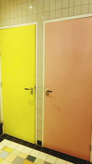 The colorful wc at Villa Augustus a very nice and with so much colors, beautifull, room. Doors Yellow Metal Indoors  No People Architecture Day Colorful Floor Orange Door Lgg4photography Made By Noesie 2 Collored Doors Happy Colors EyeEmNewHere Art Is Everywhere The Week On EyeEm