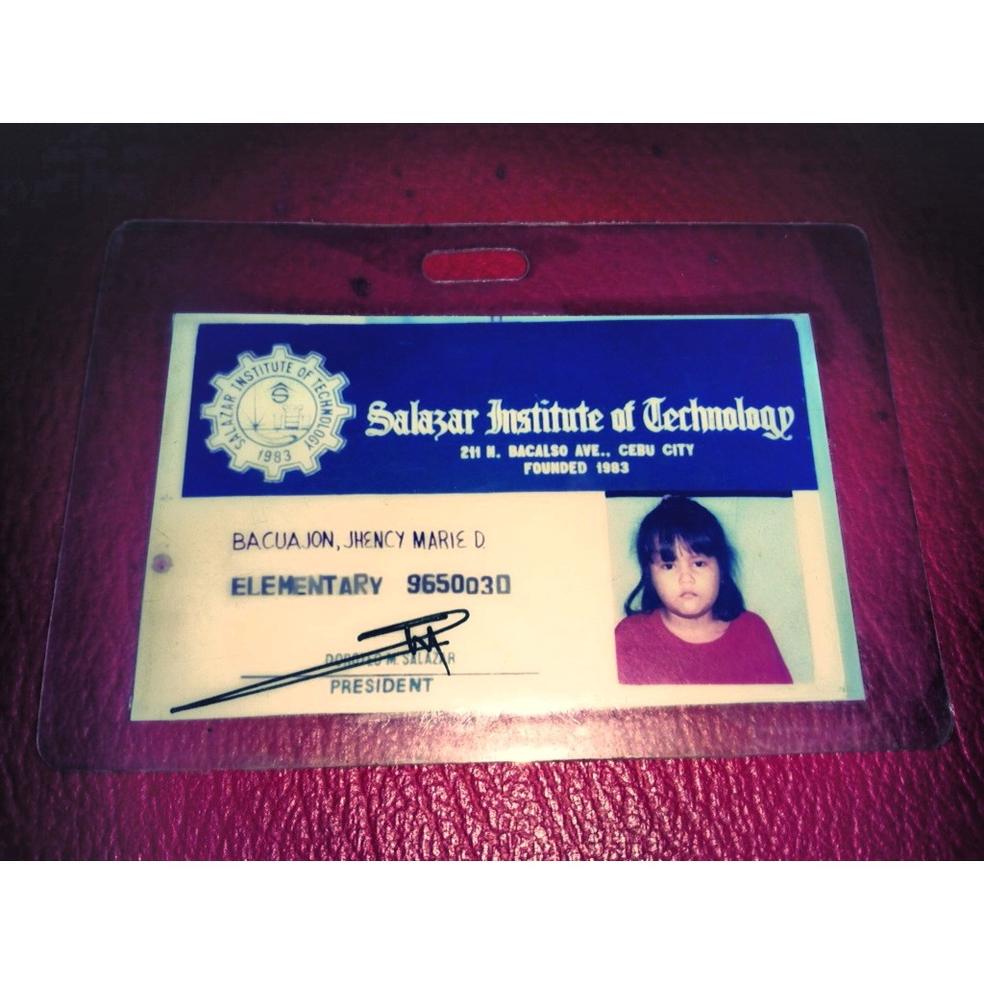 Throwback School Elementary Identification Card