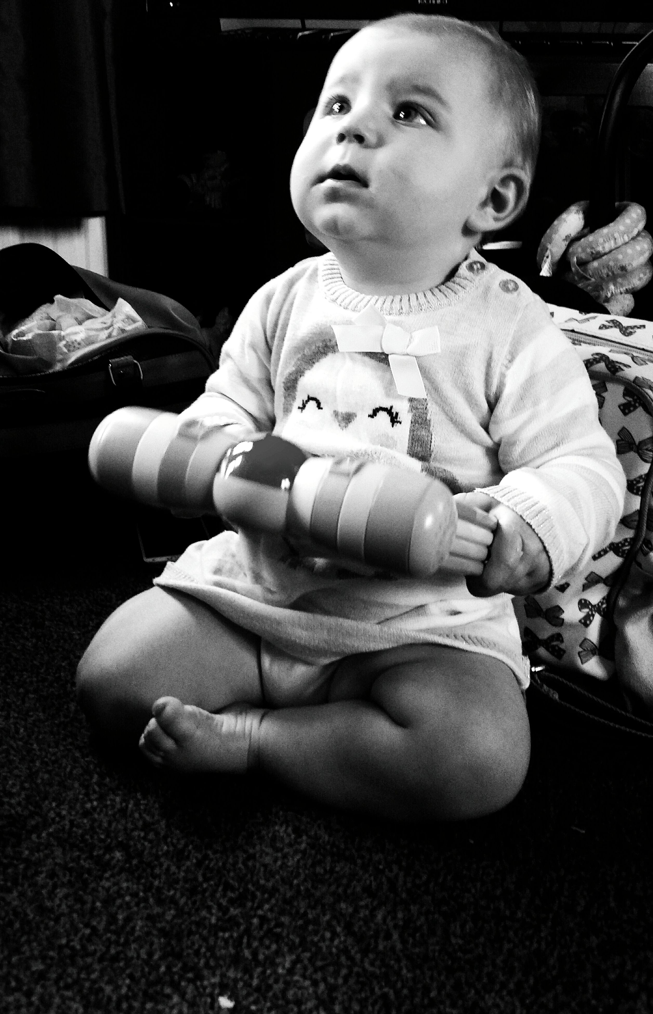 childhood, person, elementary age, innocence, casual clothing, cute, boys, lifestyles, sitting, leisure activity, full length, front view, toddler, holding, indoors, baby, preschool age, babyhood