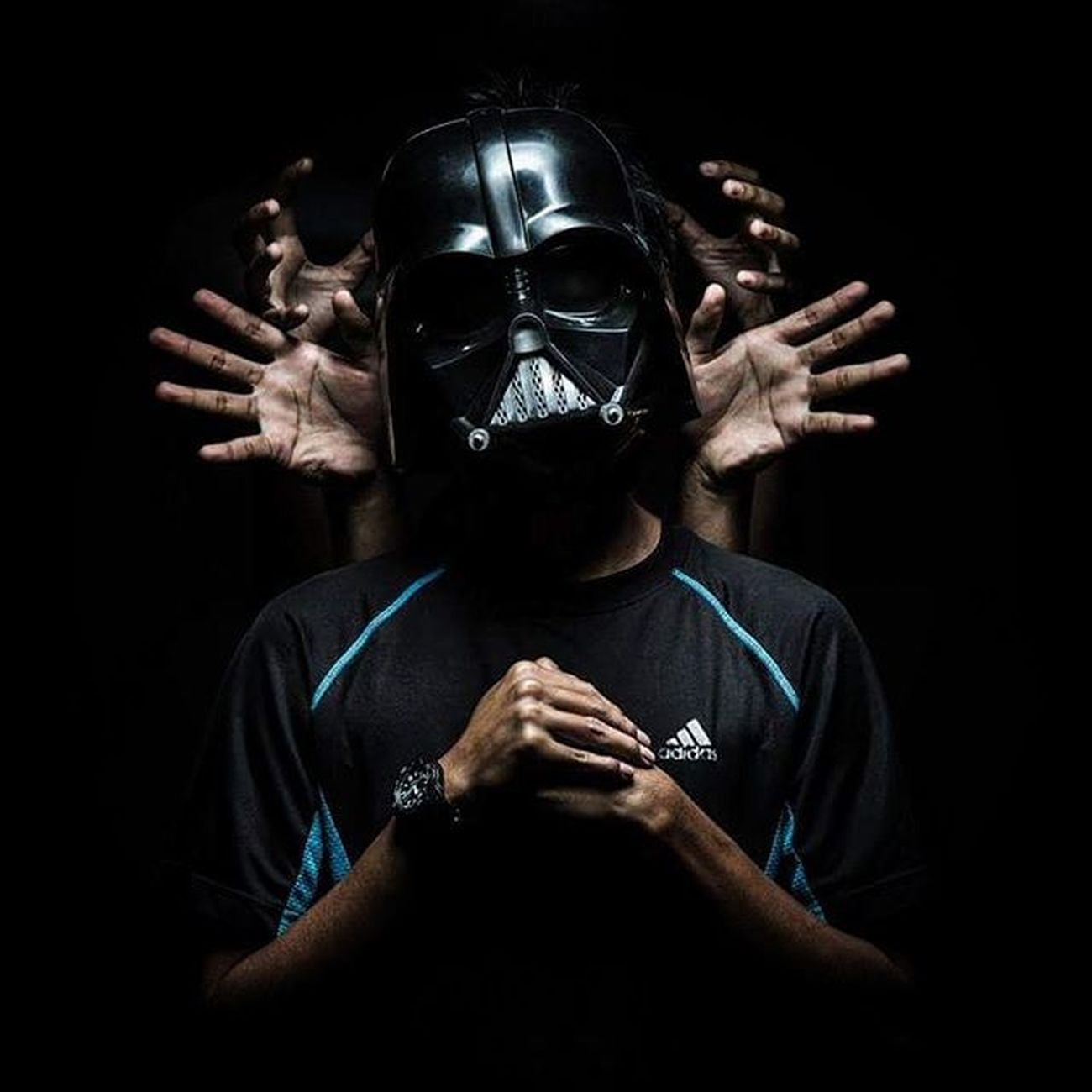 """I am your father "" // ""Den abah kau"" - @depressed_darth - Capture by @zaidi_isa Darthvader Mask Darthvadermask Starwars Imyourfather Studiolight Lighting Photographer Photography Adidasoriginals Adidas Instagram Instadaily"