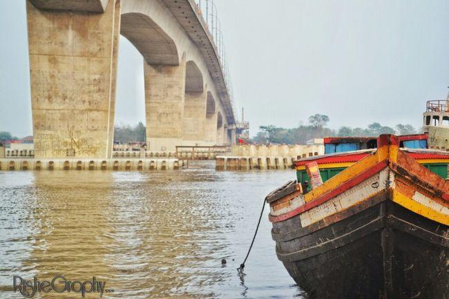 Boat Under The Bridge Boatcolor Bridge Rupsha Bridge