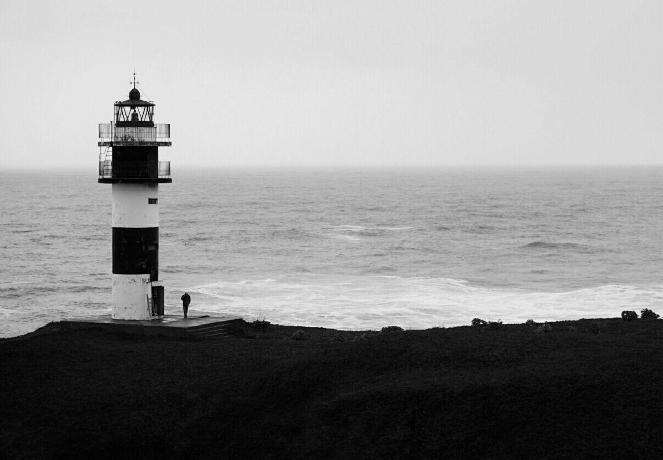 Alone... Facing The Ocean Shades Of Grey Monochrome Lighthouse Illa Pancha Ribadeo Echándote De Menos / CdB