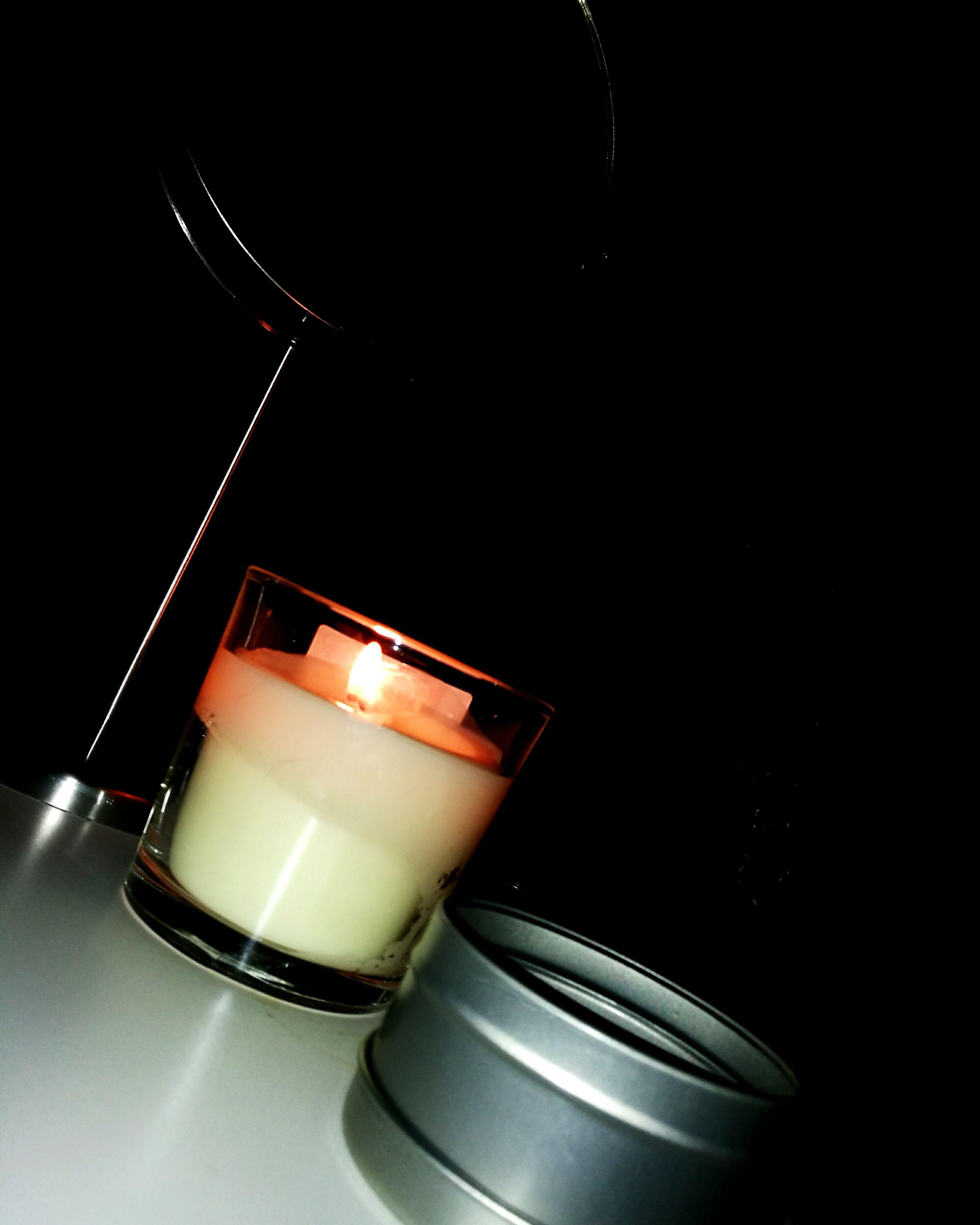 black background, no people, studio shot, burning, close-up, drink, illuminated, heat - temperature, indoors, tea light