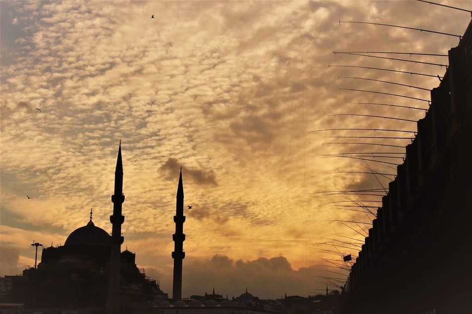 Architecture Sunset Built Structure Building Exterior Sky City No People Place Of Worship Tower Religion Cloud - Sky Travel Destinations Outdoors Day Eminönü Eminönü/ İstanbul Istanbul EyeEm Best Shots EyeEm Gallery Fisherman Fishing Adapted To The City