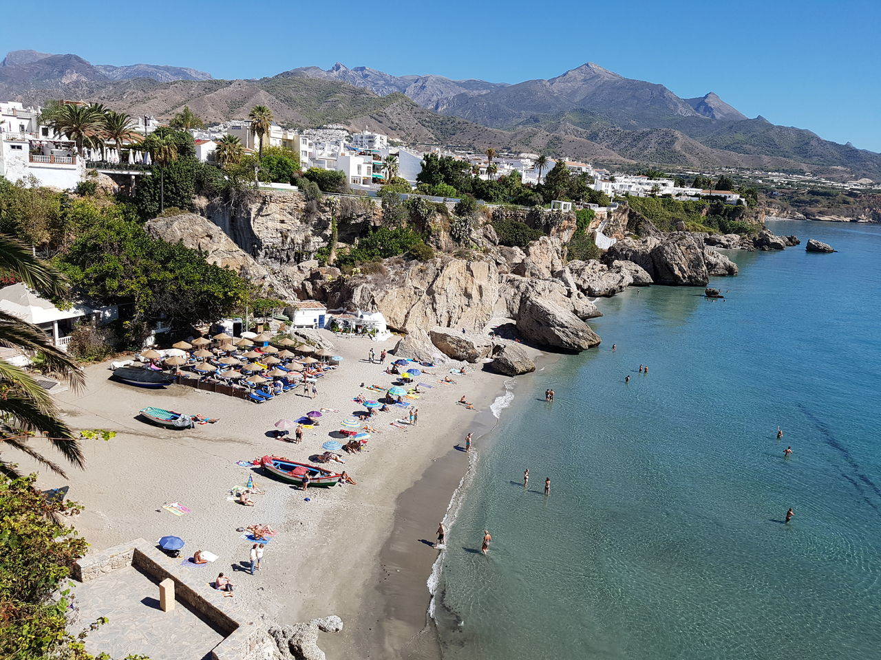 Sea Water Beach High Angle View Coastline Tranquil Scene Shore Vacations Travel Destinations Blue Rock Formation Calm Nature Day Nerja Nerja Andalucia Nerja Coast Nerja Spain Beach Holiday