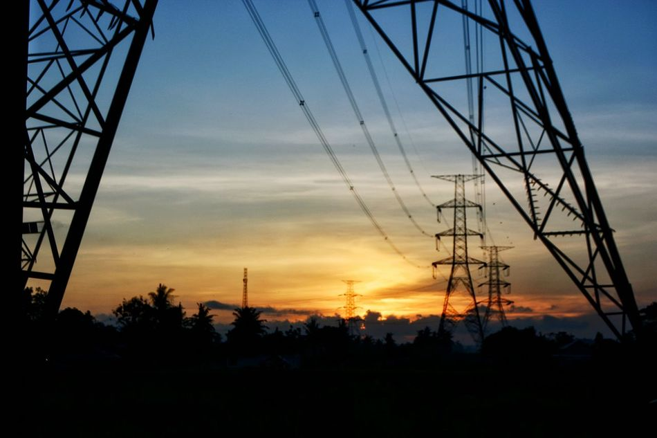 Silhouette Sunset Electricity  Electricity Pylon Cable Power Supply Electrical Grid Power Line  Sky Power Station Architecture Rural Exploration Wanderlust Bacpacker Landscape Sunset Silhouettes Sunset_captures Beauty In Nature Silhouette The Secret Spaces Long Goodbye