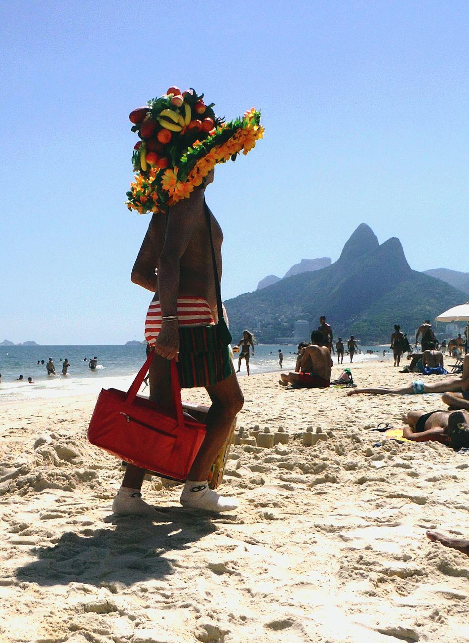 Brazil Brasil Ipanema Beach Ipanema Rio De Janeiro Eyeem Fotos Collection⛵ Rio De Janeiro Vendor Selling Refreshment Beach Sunny Day Hat Friut Big Hat