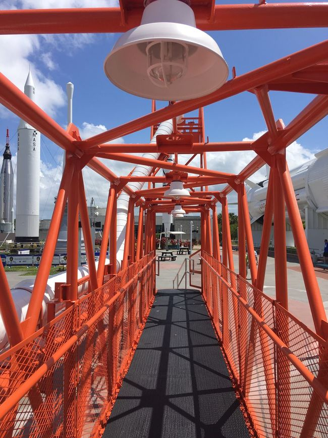 Kennedy Space Center  Walkway Metal Orange Catwalk Space Shuttle Line Of Site Lights Day The Architect - 2016 EyeEm Awards