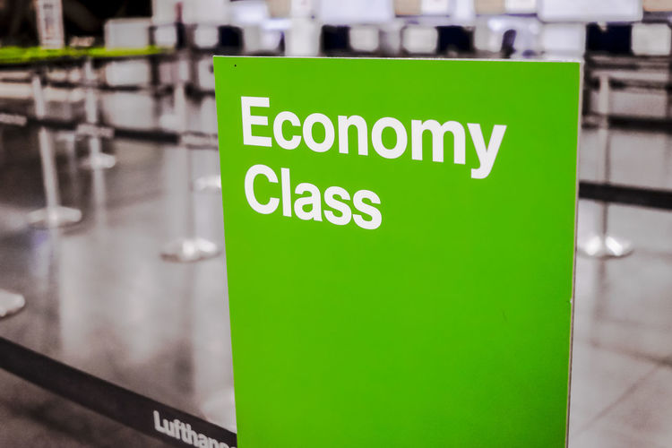 Lufthansa Economy Class Check in area in Terminal 2 Madrid Barajas Airport. Economy Green Lufthansa Passenger T2 Transportation Travel Airline Airlines Architecture Barajas Check In Close-up Communication Departure Economy Class Editorial  Green Color Hall No People Text Travel Destinations