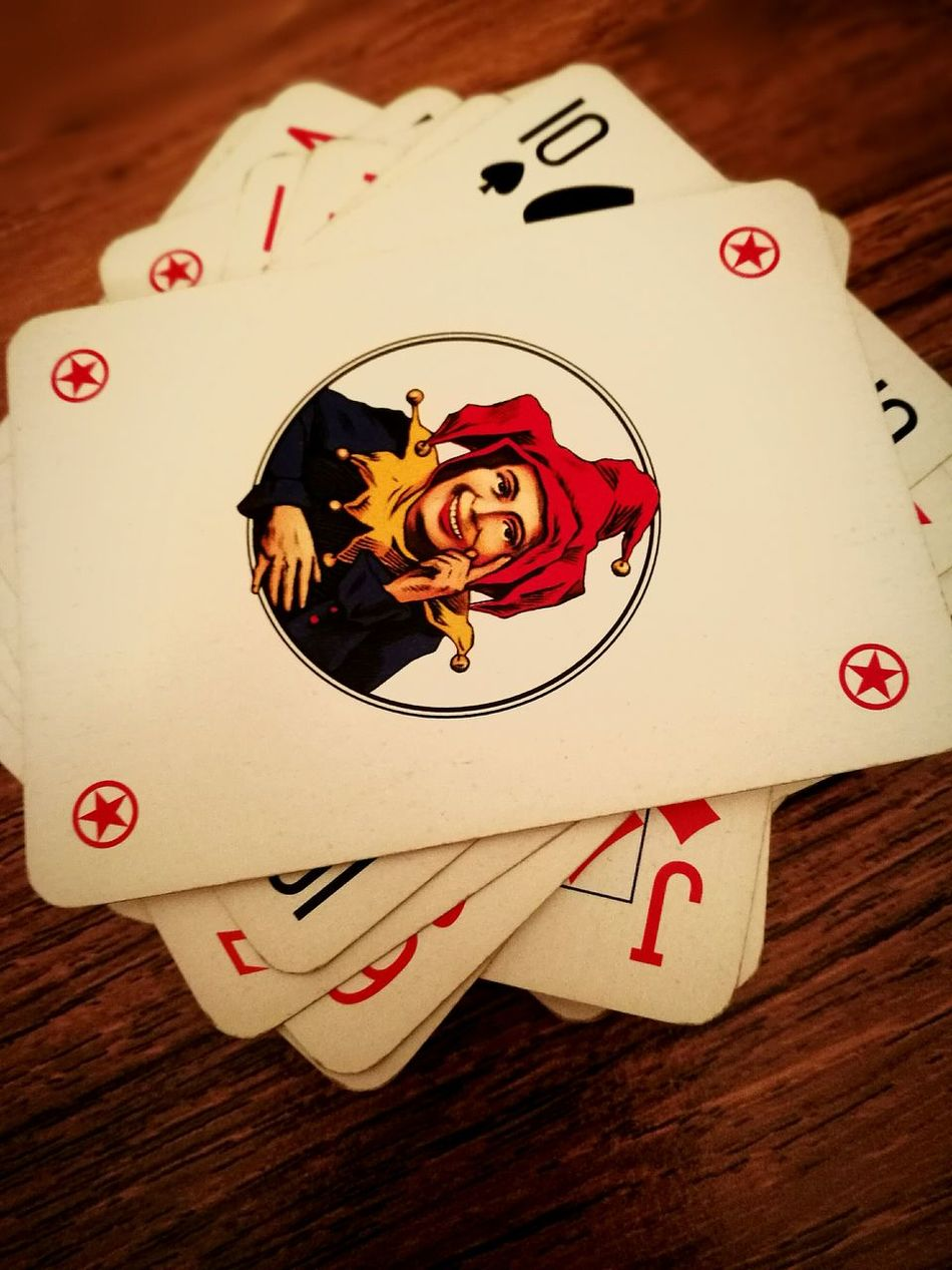 Table Indoors  Wood Palying Cards Game Jolly Smile Joker Smile