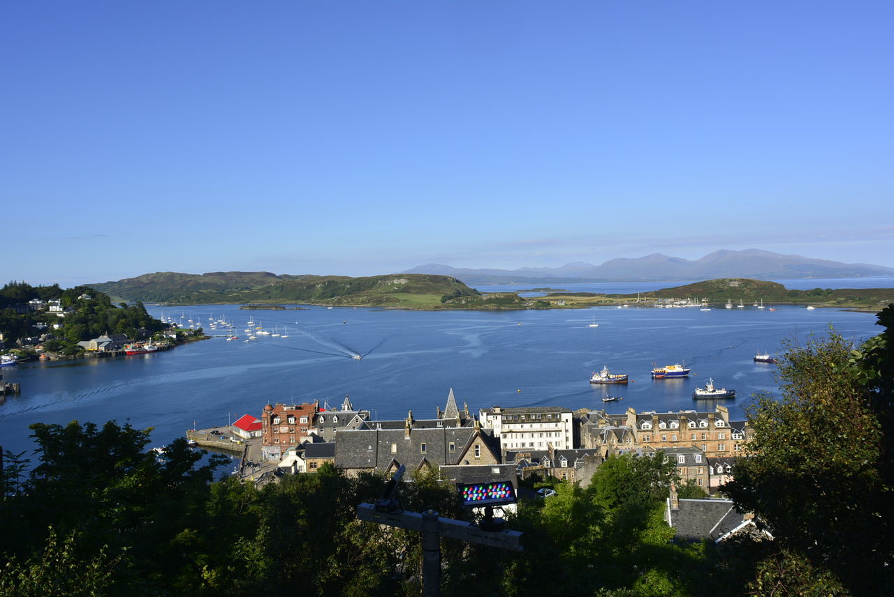Water High Angle View Architecture Outdoors Building Exterior Sea Tree Built Structure No People Day Beach Harbor Residential Building Town Mountain Oban, Argyll, Scotland Oban Oban Scotland Oban Harbour Oban Little Bay Nautical Vessel Sky Landscape Clear Sky Cityscape