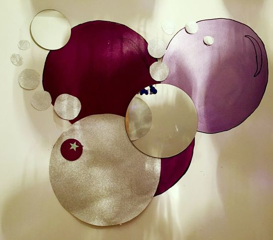 Painted Muddakas Kas© Wall Bedroom Wall Circles Circles In Circles Purple Silver  Glitter Bubbles Messedupjournal Original